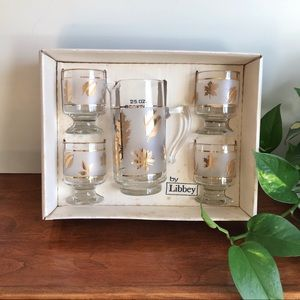 MCM Libbey 5 Piece Barware Set - Pitcher 4 Glasses